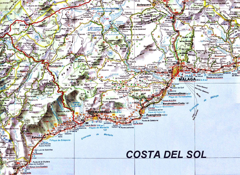 Карта коста дель соль подробная