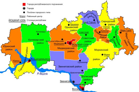 Карта Марий Эл по районам | Виртуальный туризм: http://virtune.ru/karta-marij-el-po-rajonam/