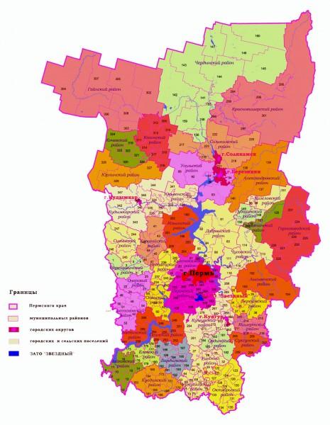 На карте Пермского края