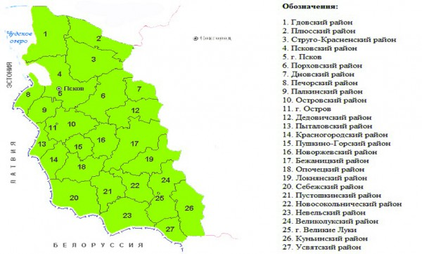 Карта Псковской области по районам | Виртуальный туризм: http://virtune.ru/karta-pskovskoj-oblasti-po-rajonam/