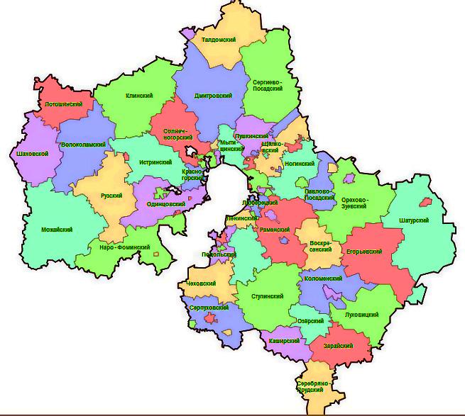 На карте московской области