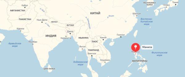 Где находится Манила на карте